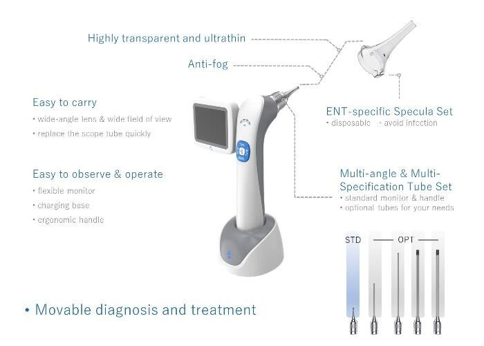 Portable Video Otoscope Resolution 640 X 480 3 Inch LCD Monitor Digital Inspection 3 Lenses Optional